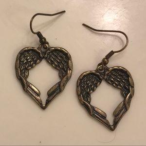 Heart Shaped Angel Wing Earrings
